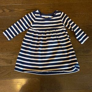 Navy and white stripped tee shirt dress